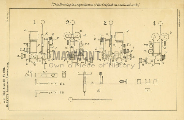 Telegraphs Harvey Original Patent Lithograph 1898