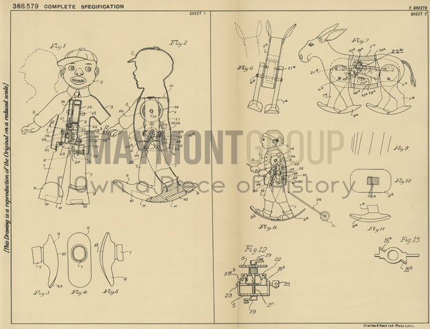 Self Propelled Toys Edward Savage Original Patent Lithograph 1932