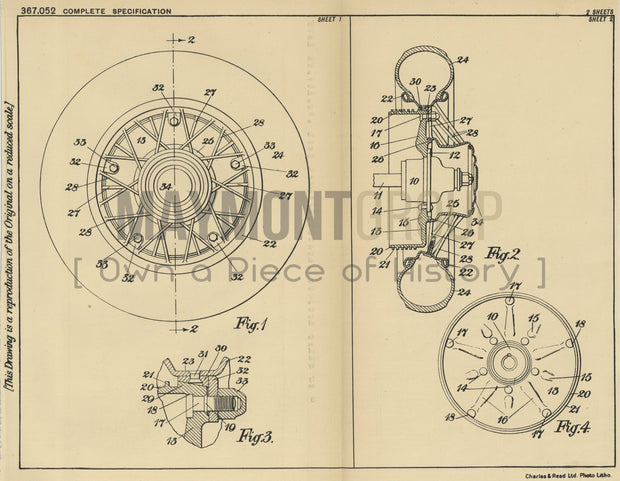 Wheel Construction for Automobile Ford Motor Company Limited Original Patent Lithograph 1932