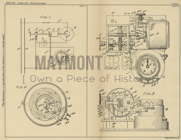 Time Interval Electric Control Kodak Limited Original Patent Lithograph 1933