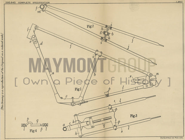 Motorcycle Frame Abingdon Works Limited Original Patent Lithograph 1928