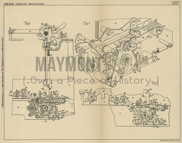 Typewriter Machine Remington Typewriter Company Original Patent Lithograph 1933