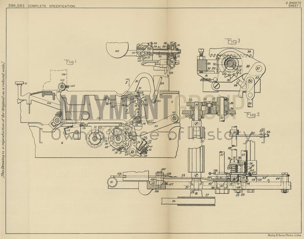 Typewriter Backspacing Mechanism Remington Typewriter Company Original Patent Lithograph 1933
