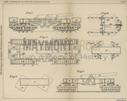 Heavy Artillery Carriage Caterpillar Tractors Limited Original Patent Lithograph 1919