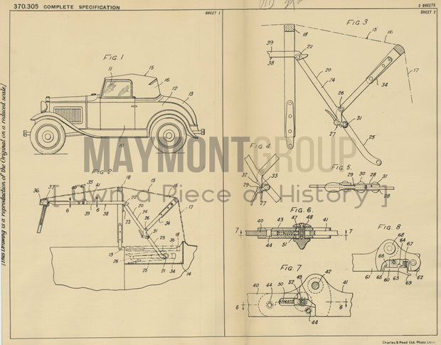 Vehicle Collapsible Top Briggs Manufacturing Company Original Patent Lithograph 1932