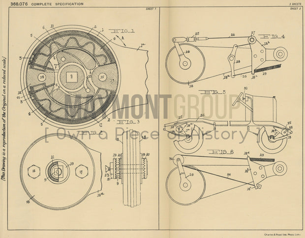 Vehicle Shock Absorbers Leopold Trescartes Original Patent Lithograph 1932
