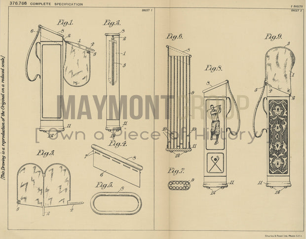 Bags for Golf Clubs James Nahon Original Patent Lithograph 1932