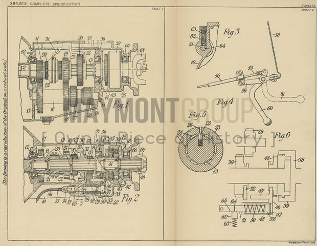 Vehicle Transmission Systems Ford Motor Company Limited Original Patent Lithograph 1932