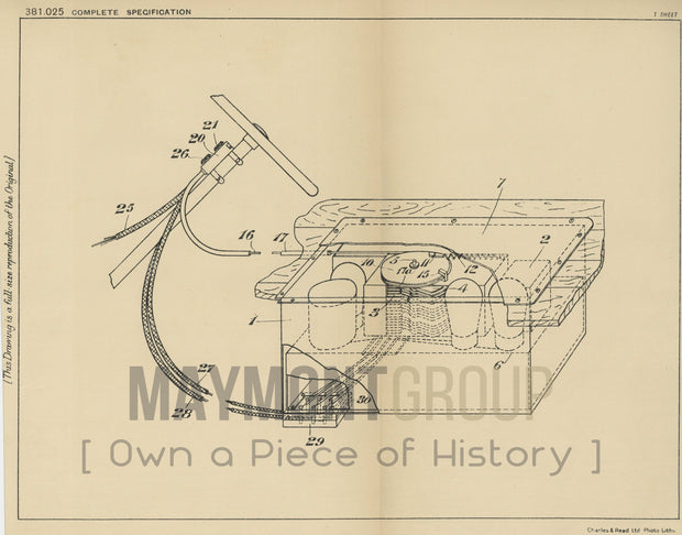 Radio Apparatus Grigsby-Grunow Company Original Patent Lithograph 1932