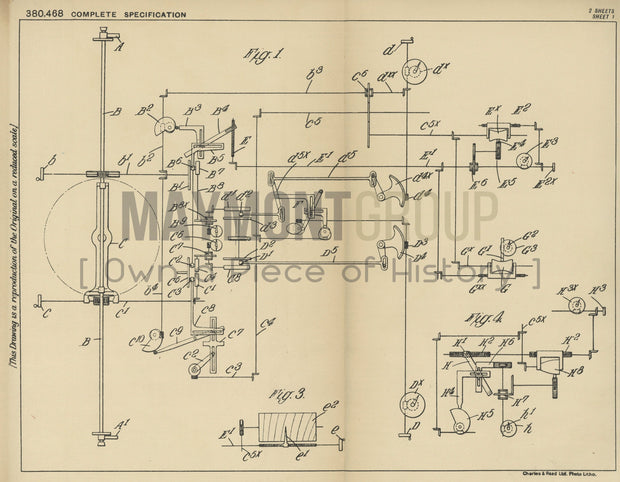 Anti-Aircraft Fire Control Vicker-Armstrongs Limited Original Patent Lithograph 1932