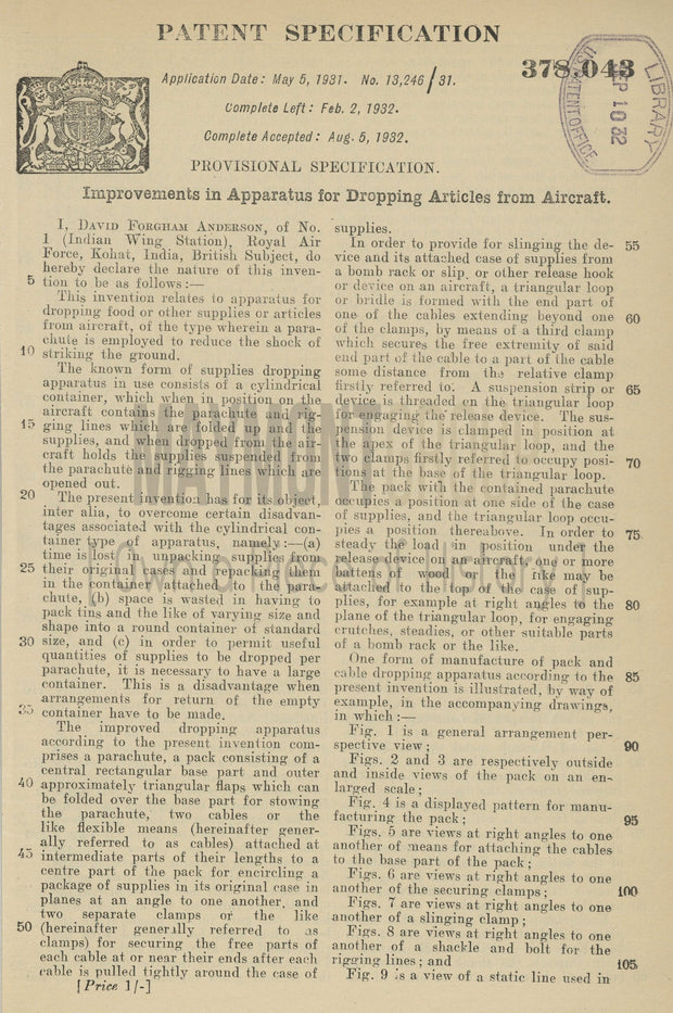 Apparatus for Dropping Articles from Aircraft David Anderson Original Patent Lithograph 1932