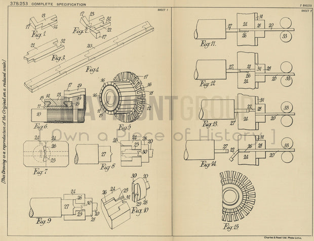 Commutator Segments Ford Motor Company Limited Original Patent Lithograph 1932