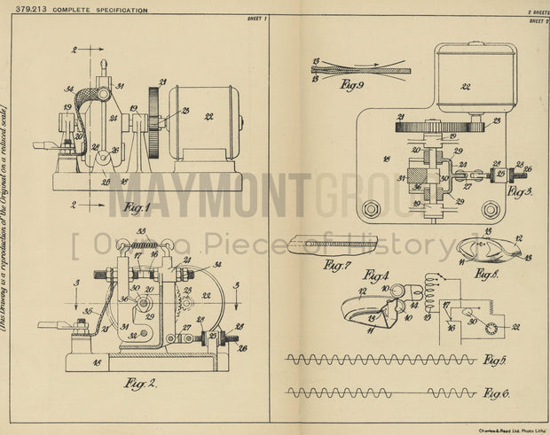 Welding Machine Ford Motor Company Limited Original Patent Lithograph 1932