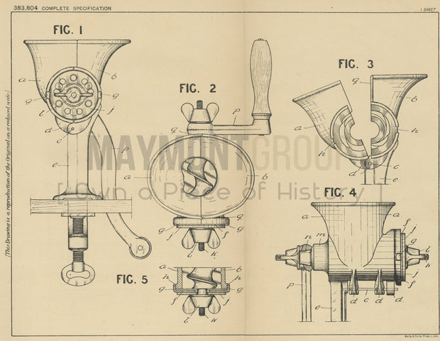 Domestic Mincing Machines Cannon Iron Foundries Limited Original Patent Lithograph 1932
