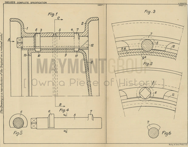 Vehicle Wheels Emil Mader Original Patent Lithograph 1932