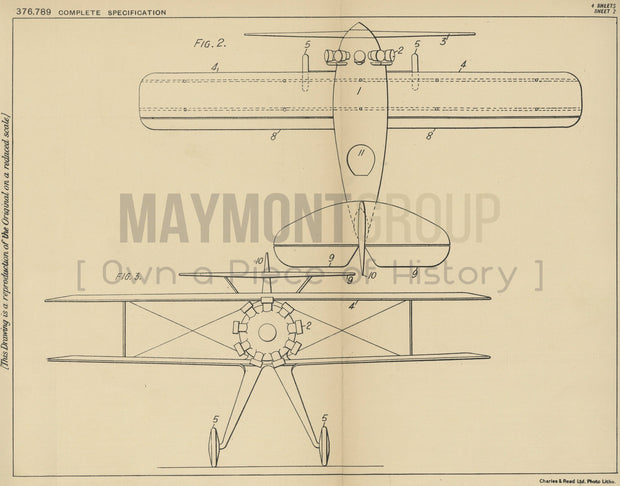 Aeroplane Improvements Fiat Societa Anonima Original Patent Lithograph 1932