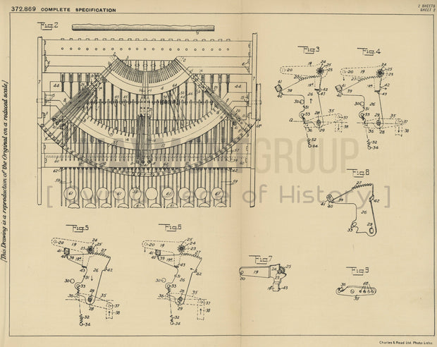 Typewriting Machine Actions Remington Typewriter Company Original Patent Lithograph 1932