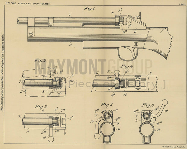 Air Rifle Webley & Scott Limited Original Patent Lithograph 1932