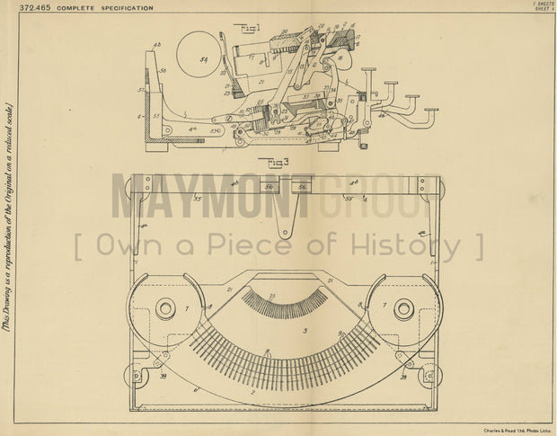 Typewriting Machine Remington Typewriter Company Original Patent Lithograph 1932