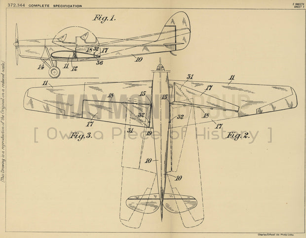 Aeroplane Wings De Havilland Aircraft Company Limited Original Patent Lithograph 1932