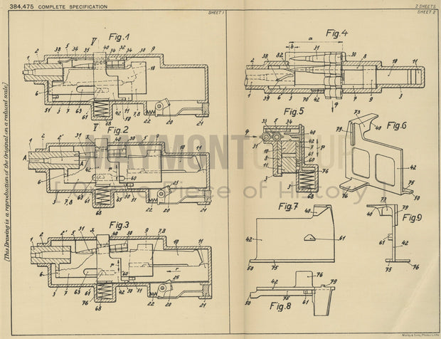 Machine Firearm with Belt Shape Cartridge Ceskoslovenska Zbrojovka Akciova Spolecnost V Brne Original Patent Lithograph 1932
