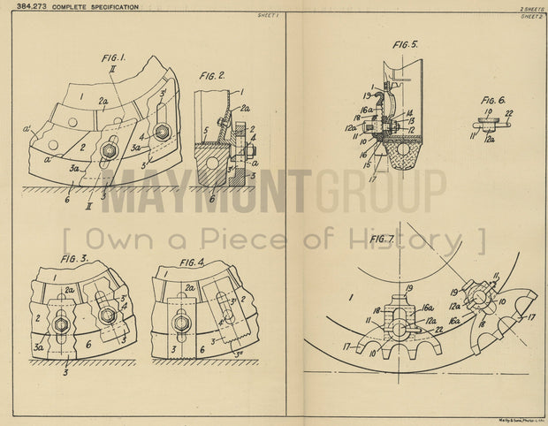 Vehicle Wheel Attachments Fiat Societa Anonima Original Patent Lithograph 1932