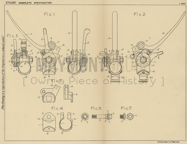 Motorcycle Handle Bar Control Birmingham Small Arms Company Limited Original Patent Lithograph 1932