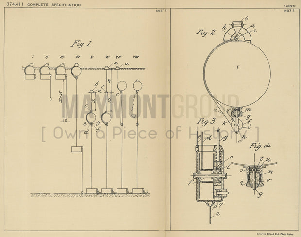 Torpedo Submersion Precision Regulation Dr. Zenone Benini Original Patent Lithograph 1932