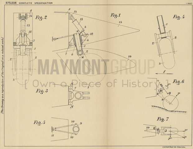 Flying Machine Rear Landing Gear Henry Potez Original Patent Lithograph 1932