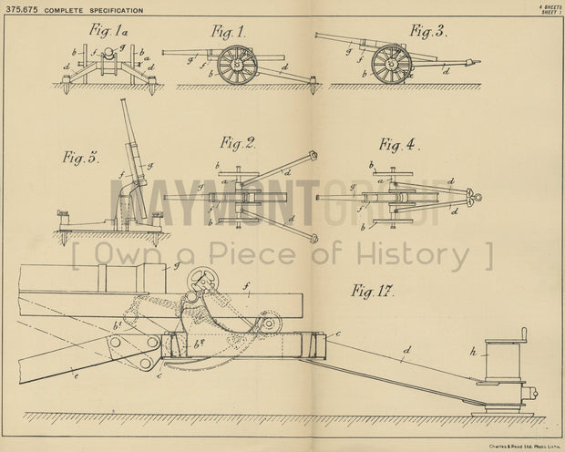 Wheeled Gun Carriage Schneider & Cie Original Patent Lithograph 1932