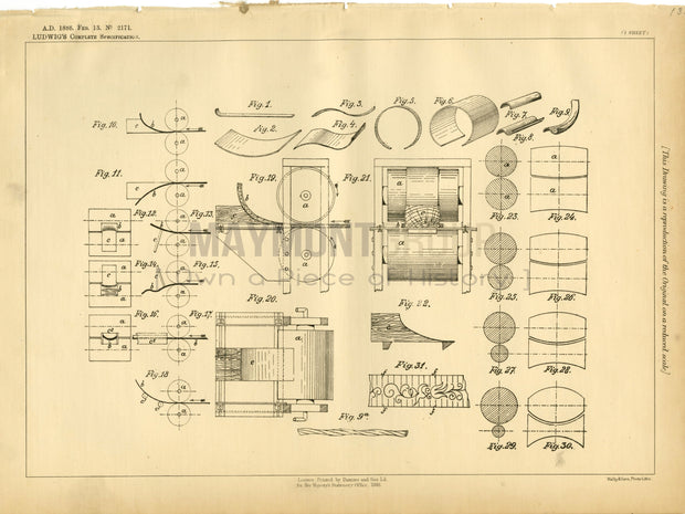 Wood Bending and Shaping Ludwig Original Patent Lithograph 1888
