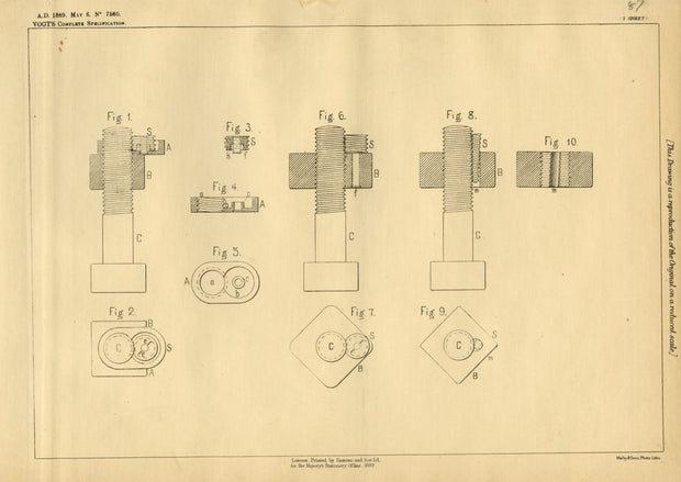 Locking Nuts Vogt Original Patent Lithograph 1889