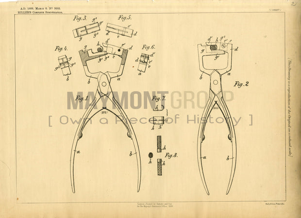 String Cutters Hiller Original Patent Lithograph 1888
