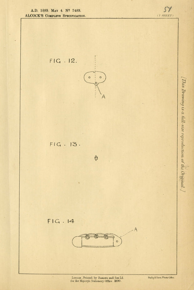 Safety Pins Alcock Original Patent Lithograph 1889