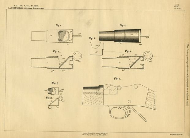 Gun Barrel Reflectors Laubenburg Original Patent Lithograph 1889