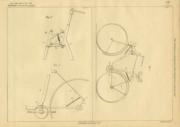 Bicycle Frames Becker Original Patent Lithograph 1889