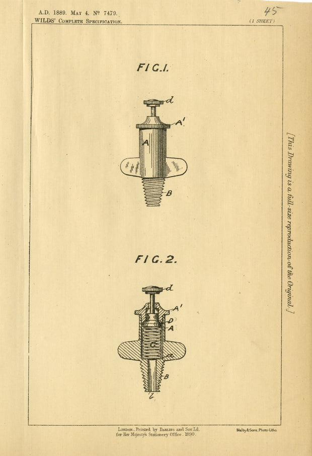 Vent Pegs Wilds Original Patent Lithograph 1889