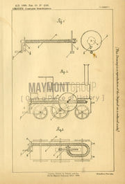 Toy Locomotive Groth Original Patent Lithograph 1888