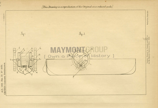 Toy Boat Groth Original Patent Lithograph 1888