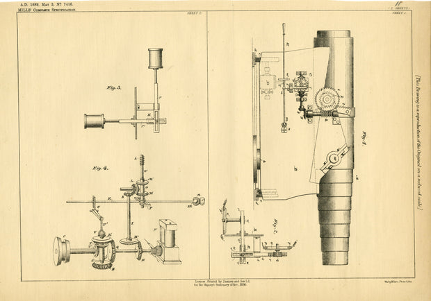 Mountings Mills Original Patent Lithograph 1889