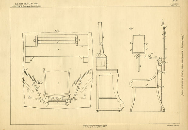 Toilet Chairs Tullock Original Patent Lithograph 1889