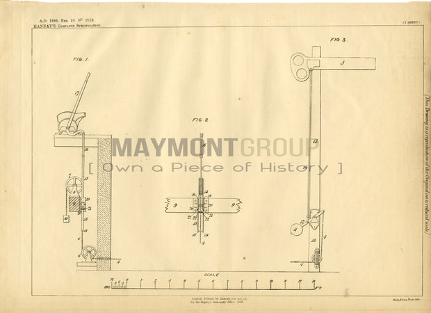 Wire and Rod Compensators Hannay Original Patent Lithograph 1888