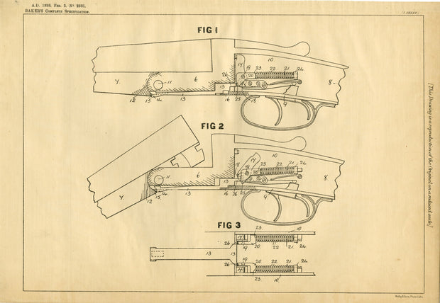 Self-Cocking Small Arms Baker Original Patent Lithograph 1898