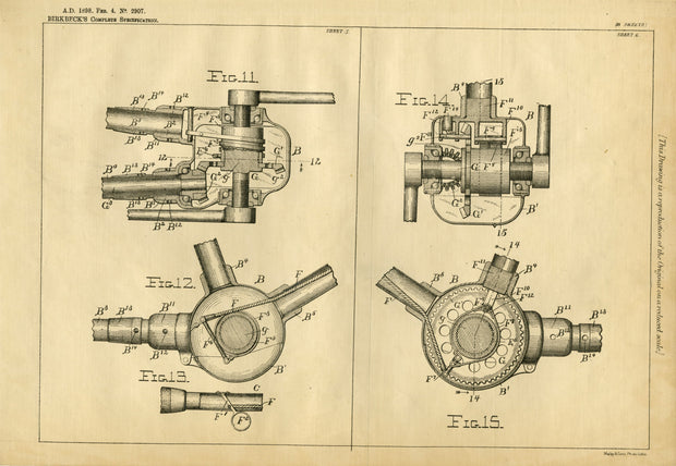 Improvements in bicycles Birkbeck Original Patent Lithograph 1898