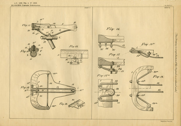 Bicycle Seats Blossom Original Patent Lithograph 1898