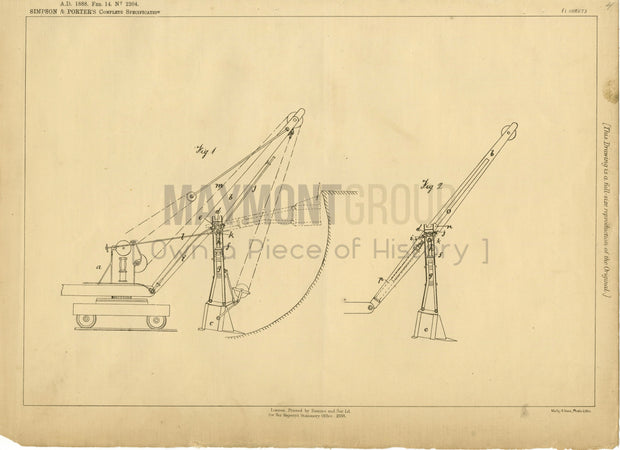Means for Excavating Simpson & Porter Original Patent Lithograph 1888