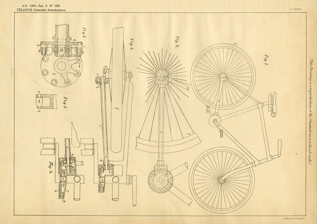 Velocipede Driving Gear Zeland Original Patent Lithograph 1898