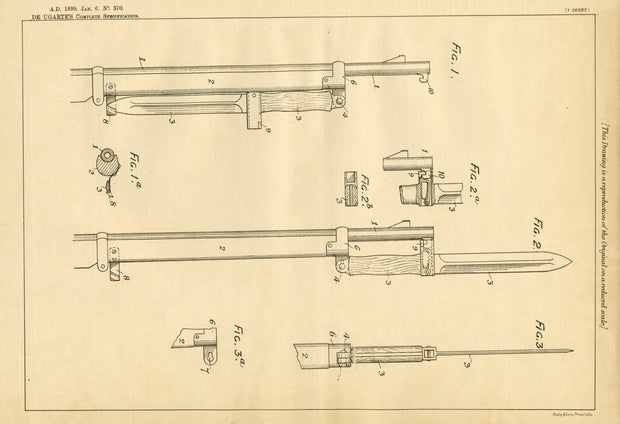 Bayonet Rifle Attachments De Ugarte Original Patent Lithograph 1898