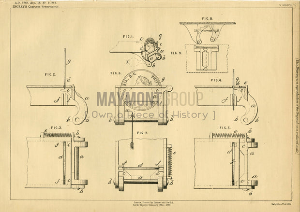 Fraud Prevention Apparatus Ingrey Original Patent Lithograph 1888