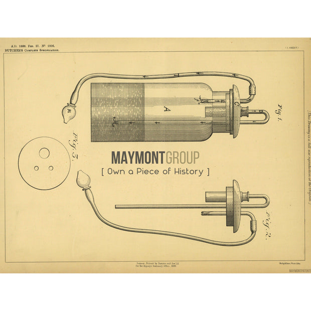 Inhaler | 1888 | Patent No. 2906-United States Patent Office-Maymont Patent Group